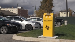 New needle drop box in Timmins. Sept 30/20 (Sergio Arangio/CTV Northern Ontario)