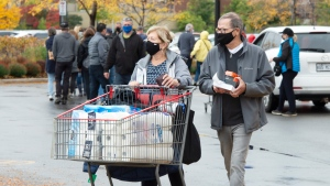 Shoppers stock up on toilet paper at a Costco store Wednesday, September 30, 2020 in Boisbriand, Que.. The Quebec government is upgrading the COVID-19 alert level to red in the Montreal area as of midnight.THE CANADIAN PRESS/Ryan Remiorz