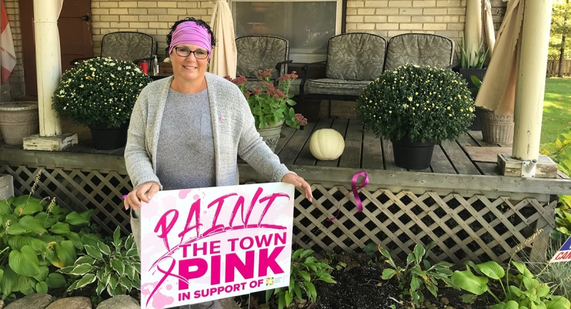 Bec Matthews, who is battling Stage 3 breast cancer and conceived of the 'Paint the Town Pink' campaign in support of breast cancer research, is seen in Dorchester, Ont. on Thursday, Oct. 1, 2020. (Sean Irvine / CTV News)