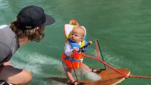 Critics upset by video of baby waterskiing