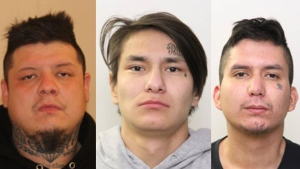 Justin Sutherland, 33, left, Joshua Gauthier, 21, middle, and Josiah Quinn, 27, right, face 65 charges together after a hotel near 127 Avenue and 120 Street was robbed at gunpoint Sept. 28, 2020.