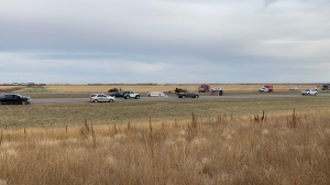 RCMP respond to a crash on Highway 11 near Osler on Oct. 1, 2020.