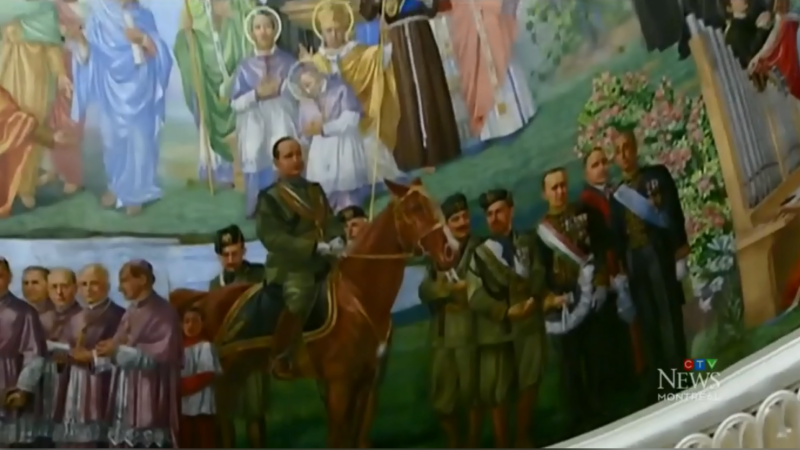 The fresco on the ceiling of a church in Montreal's Little Italy features Benito Mussolini. A petition is calling for it to be contextualized.