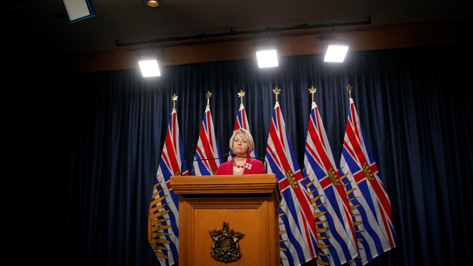 Provincial Health Officer Dr. Bonnie Henry speaks at a news conference at the B.C. legislature in Victoria, on Tuesday, Sept. 22, 2020. (Chad Hipolito / THE CANADIAN PRESS)