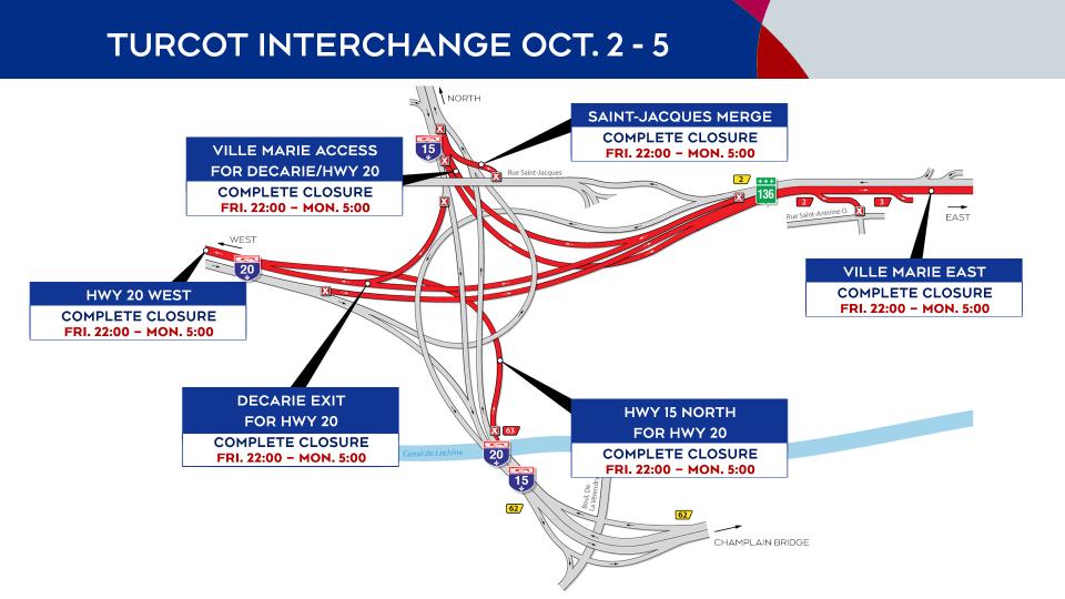 Turcto Interchange closures Oct. 2-5, 2020