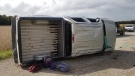 An overturned pickup truck is seen near Cinton, Ont. on Friday, Oct. 2, 2020. (Source: @OPP_WR / Twitter)