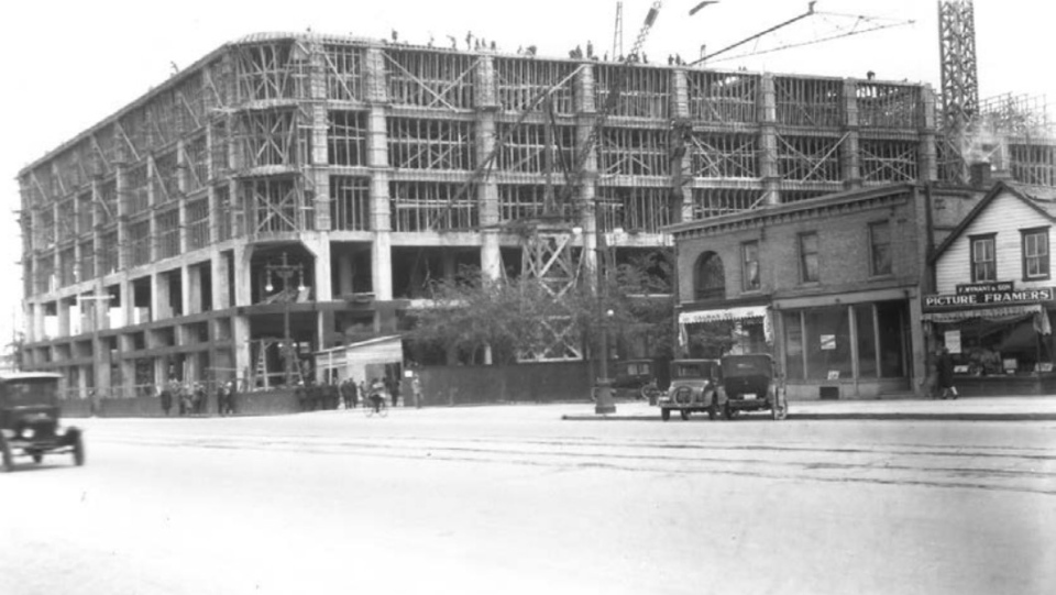 The iconic Hudson's Bay Downtown Winnipeg department store under construction in May of 1926. (Source: Manitoba Archives/ City of Winnipeg historical buildings committee report)
