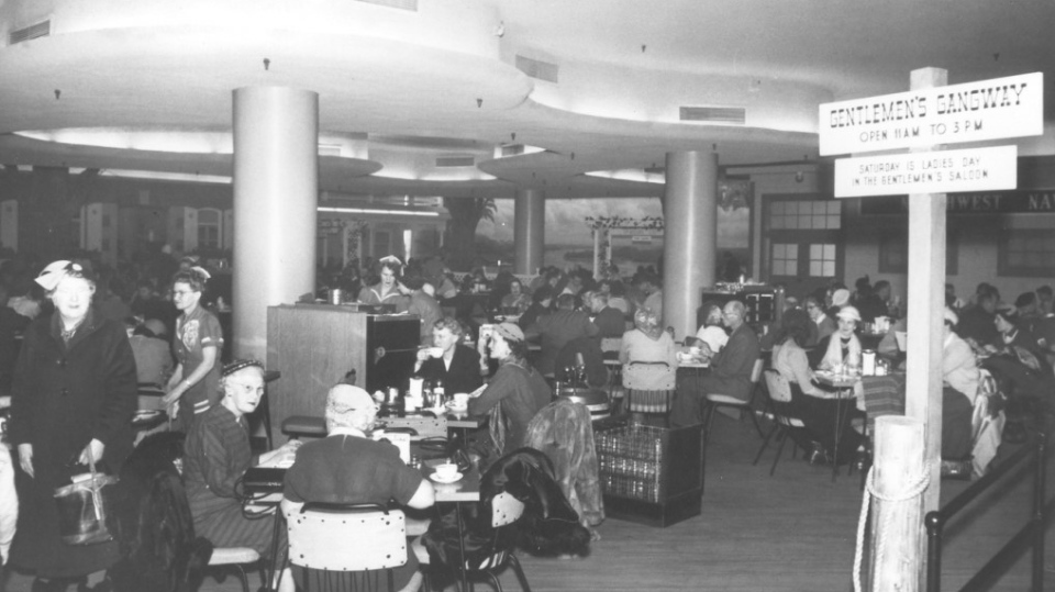 The Paddlewheel Restaurant on the sixth floor of the Hudson's Bay Downtown Winnipeg department store after in 1959. (Source: Hudson's Bay Company Archives/ City of Winnipeg historical buildings committee report)