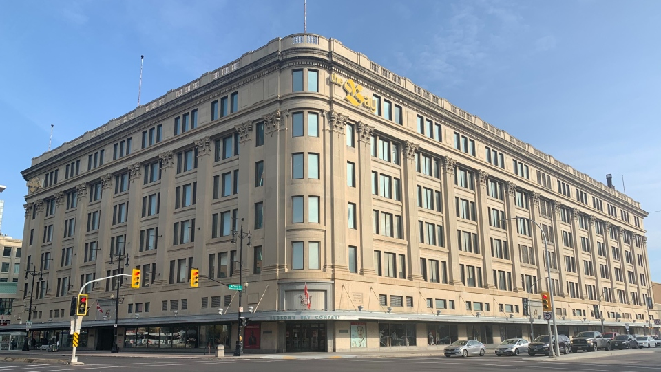 The exterior of the Hudson's Bay Downtown Winnipeg department store, which will close in February 2021. (Source: Scott Andersson/ CTV News Winnipeg)