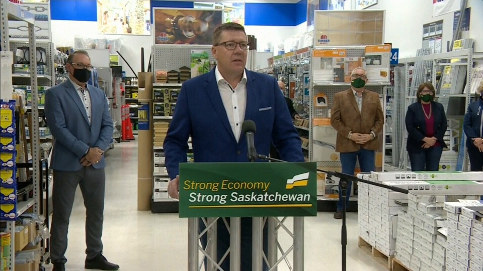 Scott Moe, the Leader of the Saskatchewan Party, speaks at a campaign event in Prince Albert on Oct. 3, 2020.