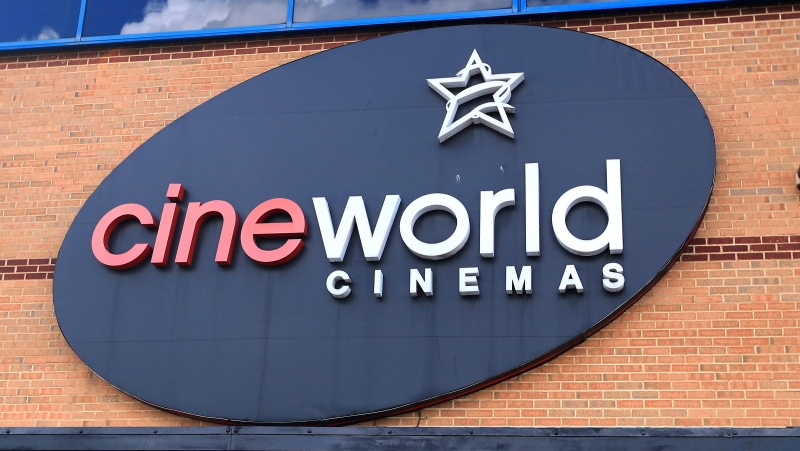 This June 18, 2020 file photo shows the logo of a Cineworld cinema in Northampton, England. (Mike Egerton/PA via AP, file)