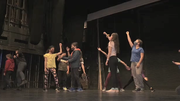 Drama students on stage at Sudbury Theatre Centre