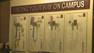 Finding your way on campus sign at Cambrian College. (Supplied)