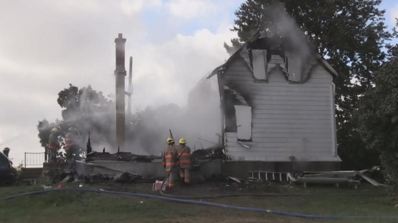 Fire demolished a home near Dutton, Ont.
