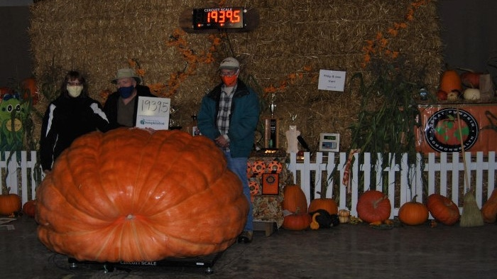 Jane Hunt, Phil Hunt, and Chris Lyons stand by their record setting pumpkin at the 2020 Port Elgin Pumpkinfest.