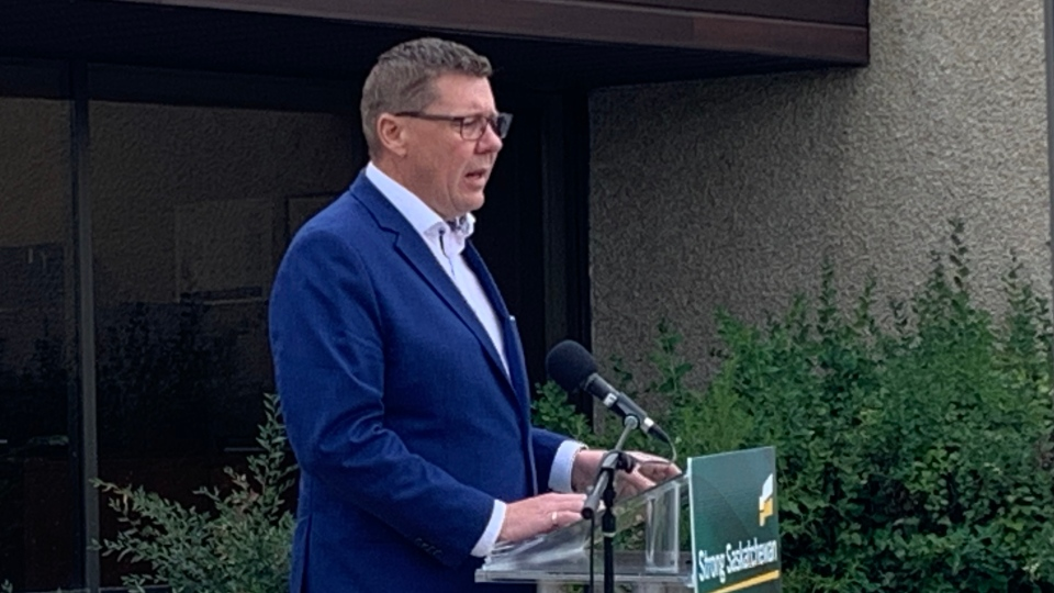 Scott Moe speaks at a Oct. 6, 2020 campaign event in Saskatoon. (Dan Shingoose/CTV News)
