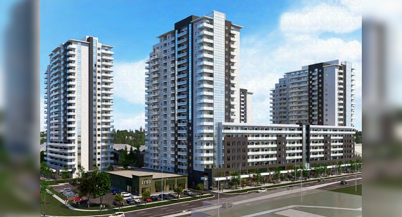 An artist rendering of a development proposed for the northwest corner of Wellington Road & Bradley Avenue in London, Ont (Source: City of London)