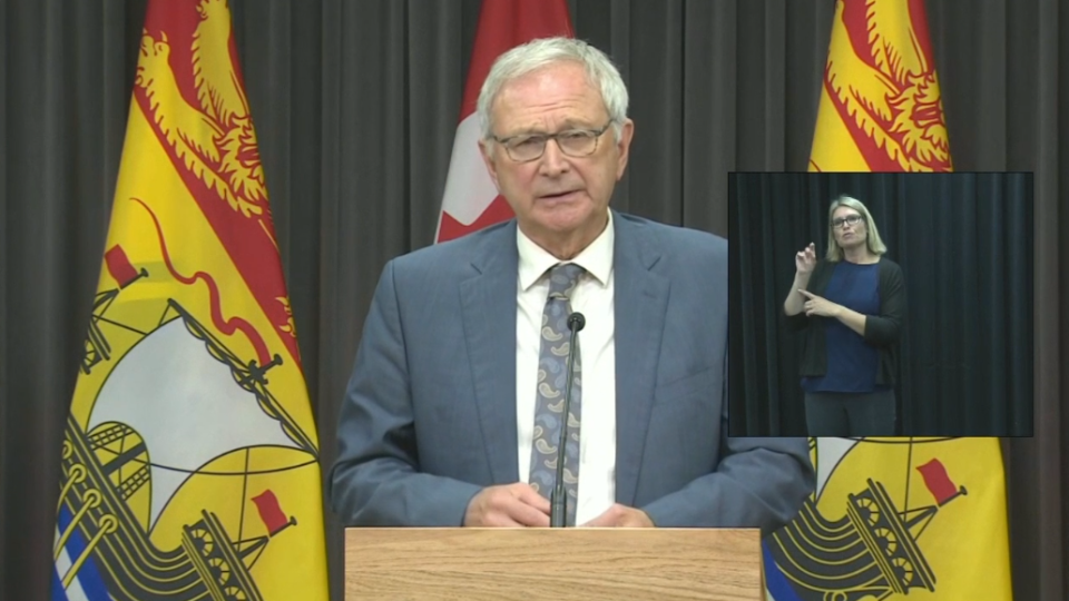 New Brunswick premier Blaine Higgs provides an update on COVID-19 at a news conference in Fredericton on October 6, 2020.