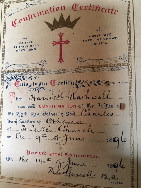 A page from the family bible that once belonged to the Rothwell family of Ottawa in the late 1800s. (Photo courtesy of Bonnie Gerard)