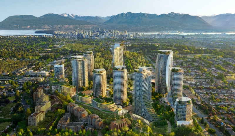 The most ambitious mall redevelopment in Canada right now is happening at the Oakridge Centre in Vancouver, where residential towers are being built along with office and other spaces, as seen in this architectural drawing. (Supplied)