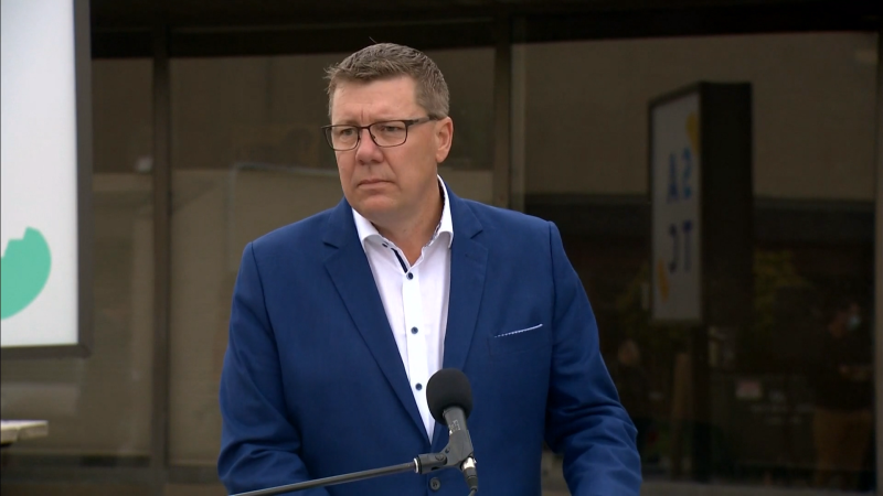 During an Oct. 6, 2020 campaign event in Saskatoon, Scott Moe was asked about a social media post concerning his involvement in a fatal 1997 crash. (CTV News)