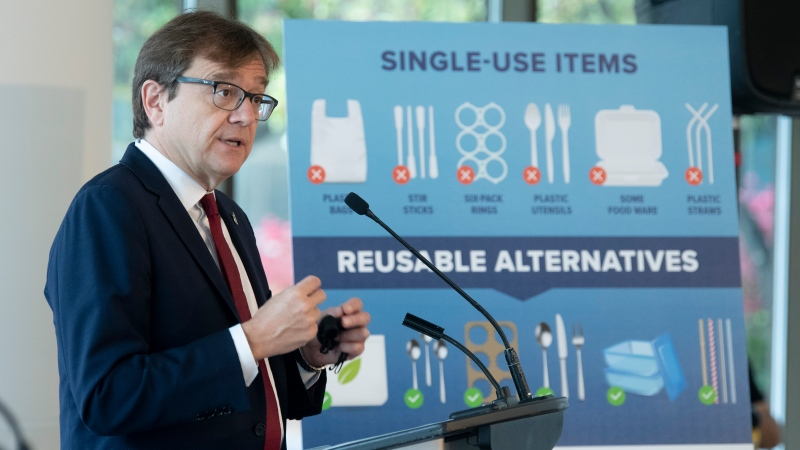 Environment and Climate Change Minister Jonathan Wilkinson speaks during a news conference announcing the ban of specific plastic products Wednesday October 7, 2020 in Gatineau. THE CANADIAN PRESS/Adrian Wyld