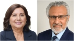 Jinny Sims and Gulzar Cheema are shown in images from the B.C. NDP and Liberal websites.