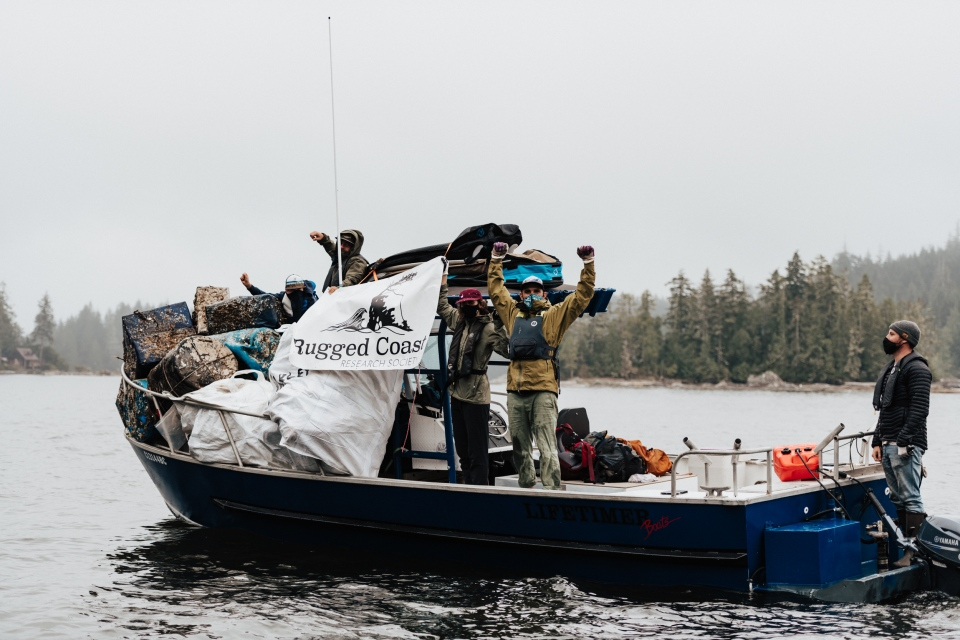The Nanaimo-based Rugged Coast Research Society says it is saving costs on beach cleanups by paddling into remote beaches and hauling trash out, rather than the conventional use of airlifting garbage off B.C.'s rugged coast: (Rugged Coast Research Society)