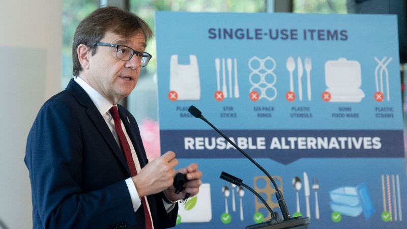 Environment and Climate Change Minister Jonathan Wilkinson speaks during a news conference announcing the ban of specific plastic rproducts Wednesday October 7, 2020 in Gatineau. THE CANADIAN PRESS/Adrian Wyld