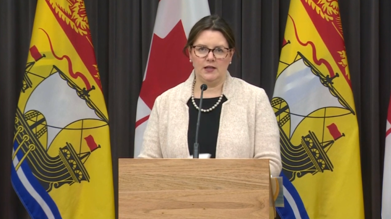New Brunswick chief medical officer of health Dr. Jennifer Russell provides an update on COVID-19 at a news conference in Fredericton on Thursday, October 8.