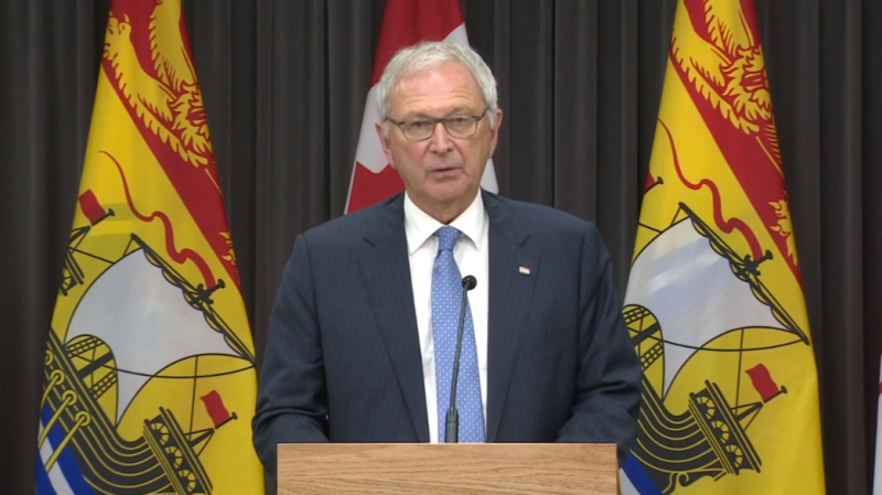 New Brunswick premier Blaine Higgs provides an update on COVID-19 at a news conference in Fredericton on Thursday, October 8, 2020.