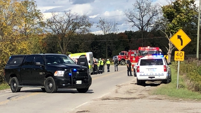 Police are investigating a collision in which a vehicle may have been involved in a robbery, Thursday, Oct. 8, 2020. (Jim Knight/ CTV London)