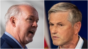 NDP Leader John Horgan speaks during a campaign stop, in Langley, B.C., on Thursday, Oct. 8, 2020; Liberal Leader Andrew Wilkinson speaks during a campaign announcement, in Vancouver, on Wednesday, Oct. 7, 2020. (Darryl Dyck / THE CANADIAN PRESS)