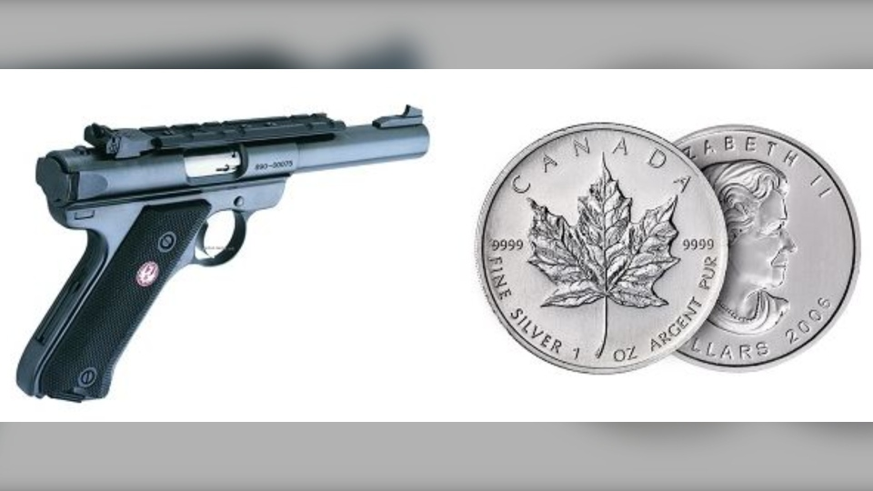 Stock images of the pistol and silver coins that were stolen are shown: (Nanaimo RCMP)