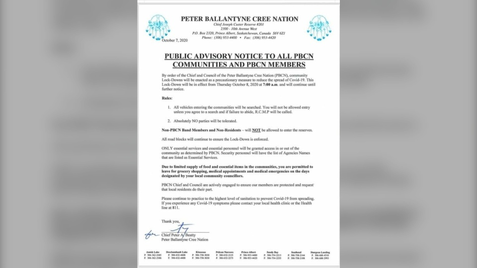 Peter Ballantyne Cree Nation (PBCN) is enacting a lockdown to reduce the spread of COVID-19. (Facebook)