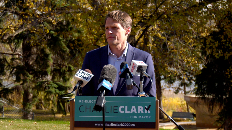 Charlie Clark releases his safety platform in downtown Saskatoon on Oct. 10, 2020. (Dan Shingoose/CTV Saskatoon)