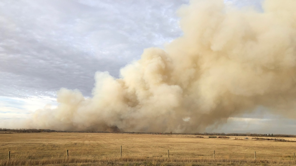 Multiple fire departments have responded to a grass fire east of Dalmeny. (Chad Hills/CTV Saskatoon)