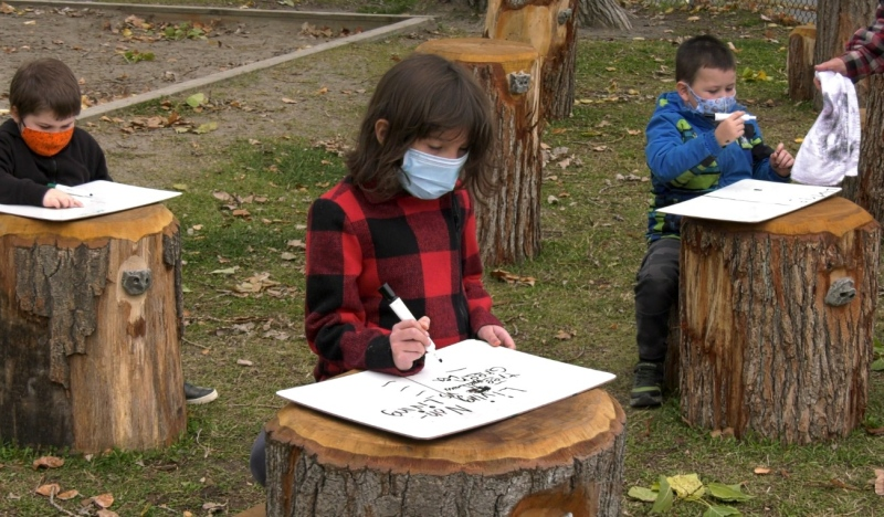 Lansdowne Public School got a brand new outdoor classroom in September. Now due to COVID-19, staff and students are using the outdoor space a lot more than expected. (Jaime McKee/CTV News)