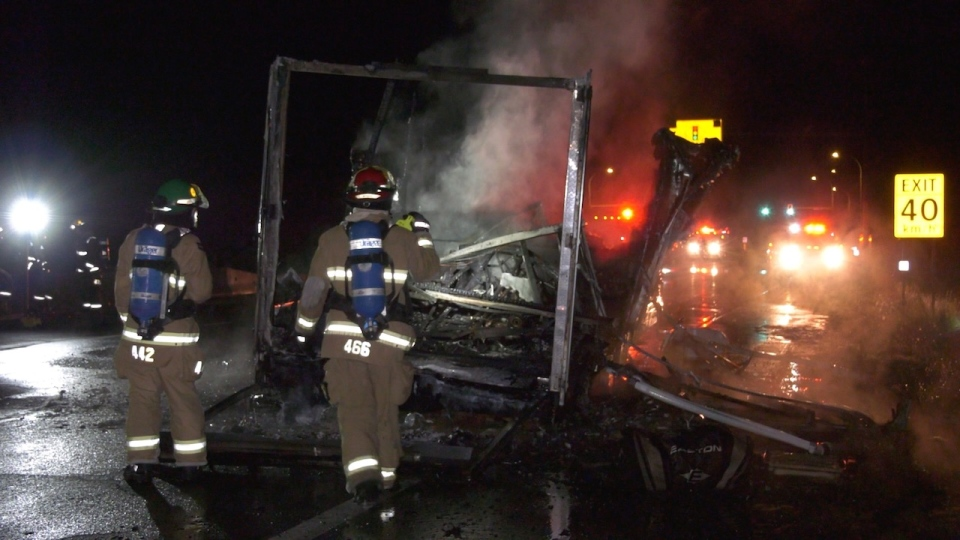 The fire was discovered around 6:45 p.m. as the unit was being pulled northbound along the Inland Island Highway just south of the Hamm Road intersection.  (CTV News)