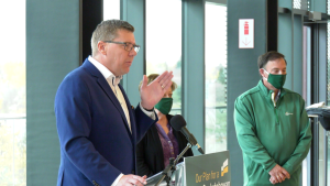 Scott Moe outlines the Sask. Party election platform on Oct. 9, 2020 in Saskatoon. (Chad Hills/CTV News)