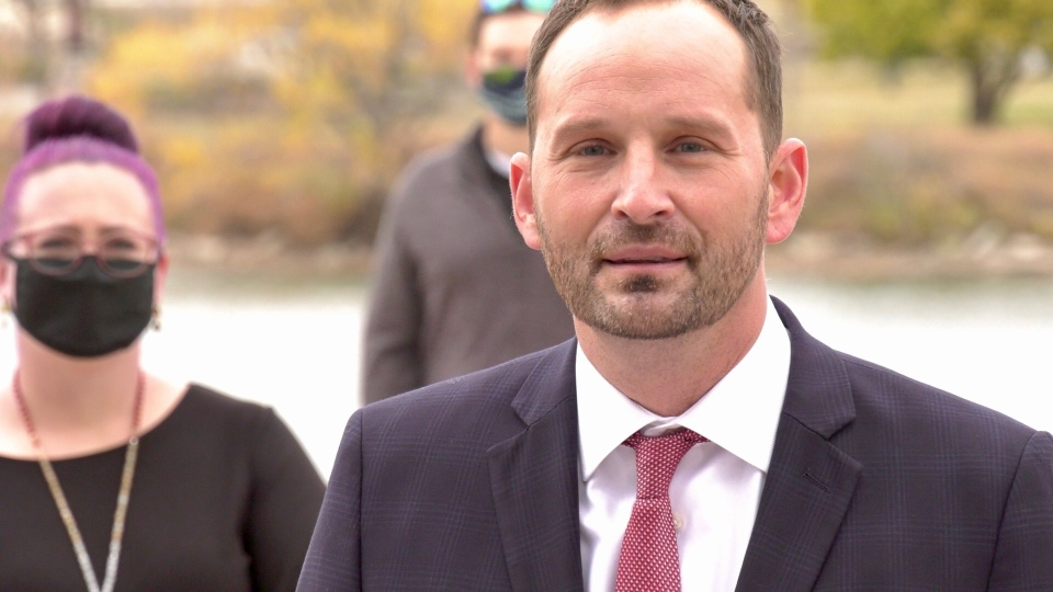 Ryan Meili launches the Saskatchewan NDP election platform in Saskatoon on Oct. 9. 2020. (Laura Woodward/CTV News)
