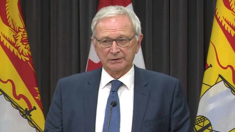 New Brunswick premier Blaine Higgs provides an update on COVID-19 at a news conference in Fredericton on Friday, October 9, 2020.