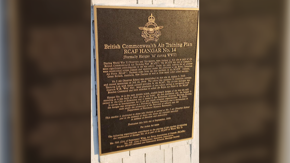 RCAF Hangar No. 14 dedication plaque