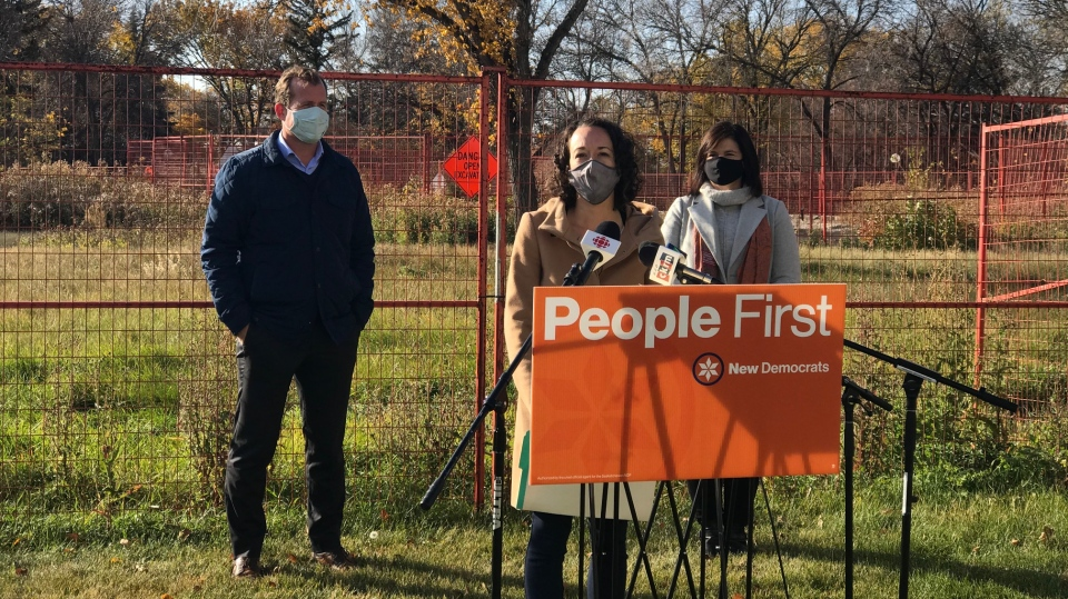 NDP Candidates Nicole Sarauer, Trent Wotherspoon and Carla Beck gathered at Wascana Park for a campaign announcement on Saturday. (Stefanie Davis / CTV News Regina)