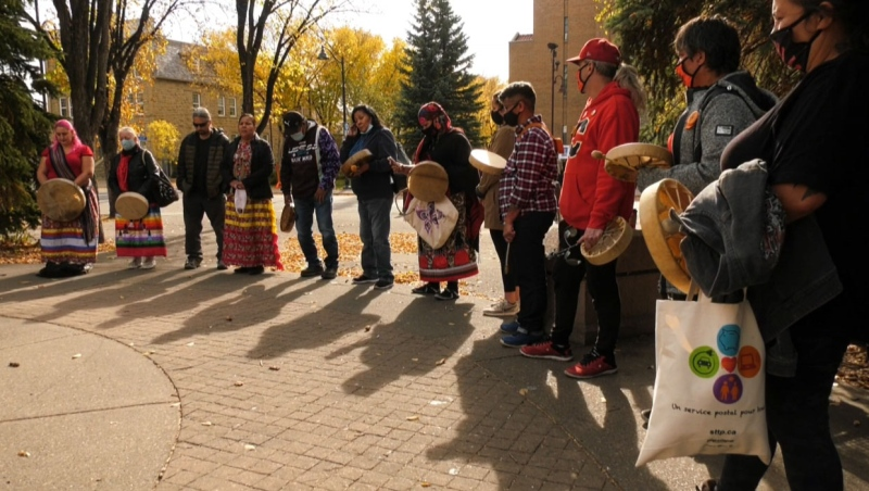 """Friends and family members of Jackie Crazybull gathered in Calgary on Oct. 10, 2020, for the """"Justice for Jackie"""" walk."""