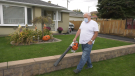 CTV News caught up with Claude Robitaille and his wife Ann as they were using the leaf-blower to clear their front yard. Oct. 10/20 (Ian Campbell/CTV News Northern Ontario)