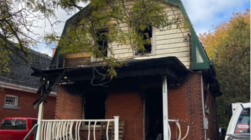 Downie Street house fire in Stratford, Ont. on Oct. 11, 2020. (Stratford Police Service)