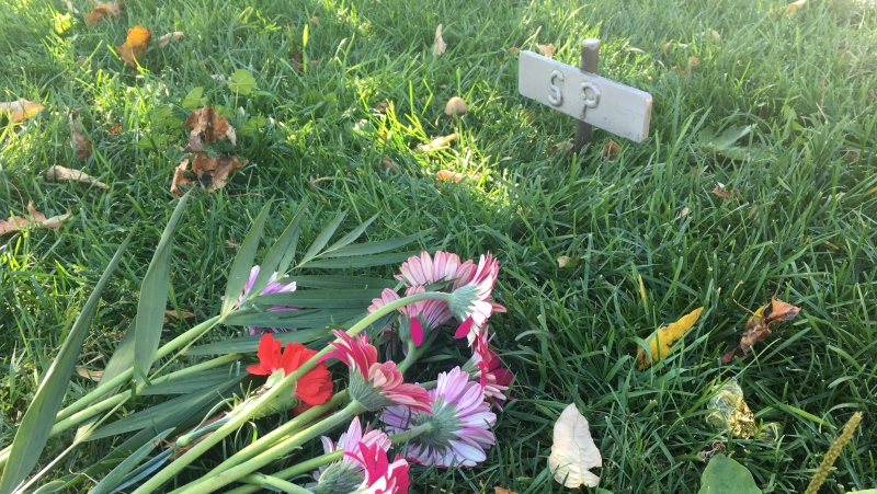 Memorial for London Ont., homicide victim Scotty Pate on Oct. 11, 2020. (Brent Lale/CTV London)