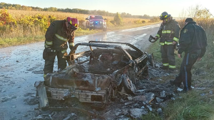 Corvette fire in Clearview Twp