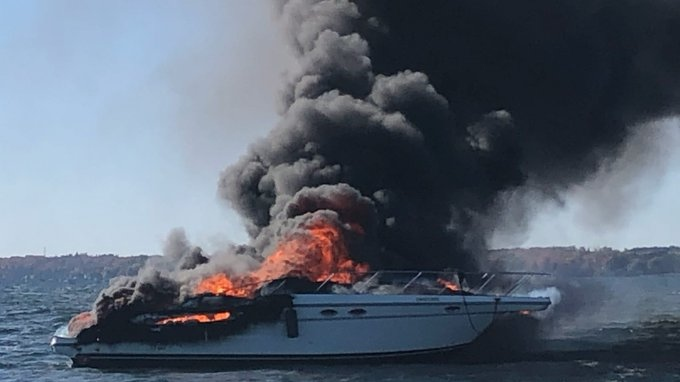 A boat on fire on Lake Simcoe in Oro-Medonte, Ont. on Sunday October 12, 2020 (York Regional Police)